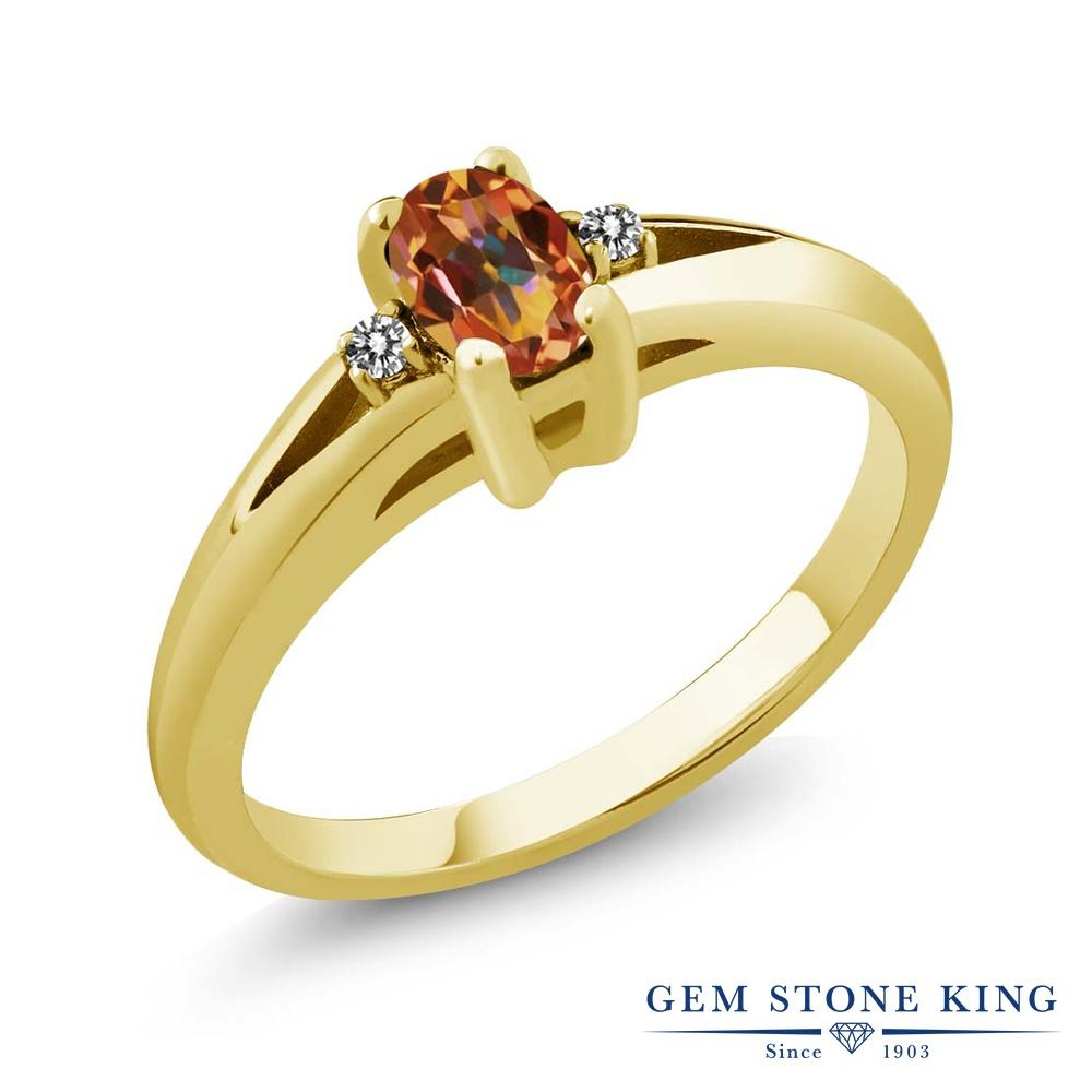 0.59カラット 天然石 エクスタシーミスティックトパーズ 指輪 レディース リング 天然 ダイヤモンド ブランド おしゃれ シンプル ダブルストーン 金属アレルギー対応