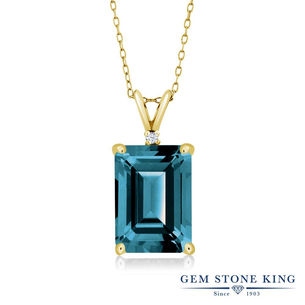 Gem Stone King 8.52カラット 天然 ロンドンブルートパーズ シルバー925 イエローゴールドコーティング ネックレス ペンダント レディース 大粒 シンプル 天然石 11月 誕生石 金属アレルギー対応 誕生日プレゼント