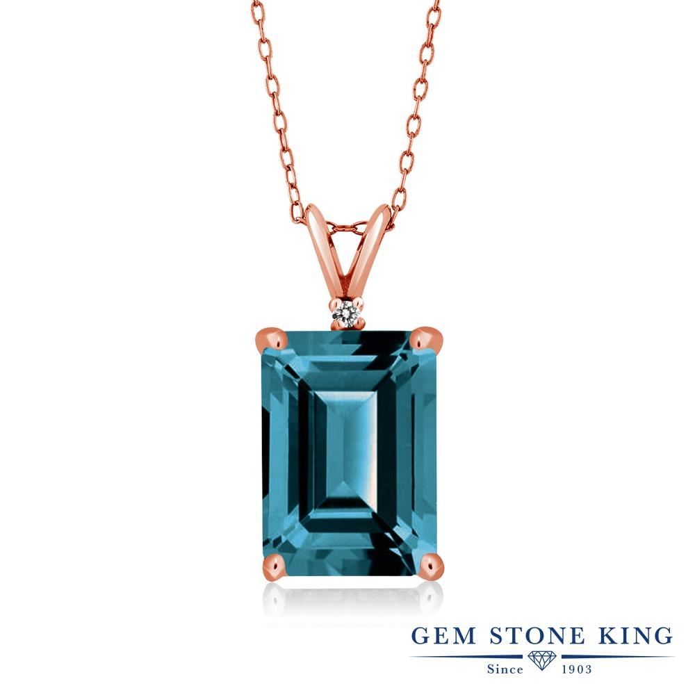 Gem Stone King 8.52カラット 天然 ロンドンブルートパーズ 天然 ダイヤモンド シルバー925 ピンクゴールドコーティング ネックレス ペンダント レディース 大粒 シンプル 天然石 11月 誕生石 金属アレルギー対応 誕生日プレゼント