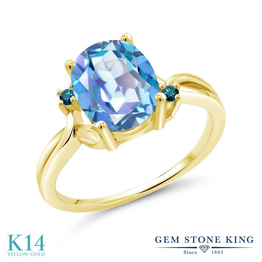Gem Stone King 2.73カラット 天然ミスティッククォーツ(ミレニアムブルー) 14金 イエローゴールド(K14) 天然ブルーダイヤモンド 指輪 リング レディース 大粒 シンプル 天然石 誕生日プレゼント