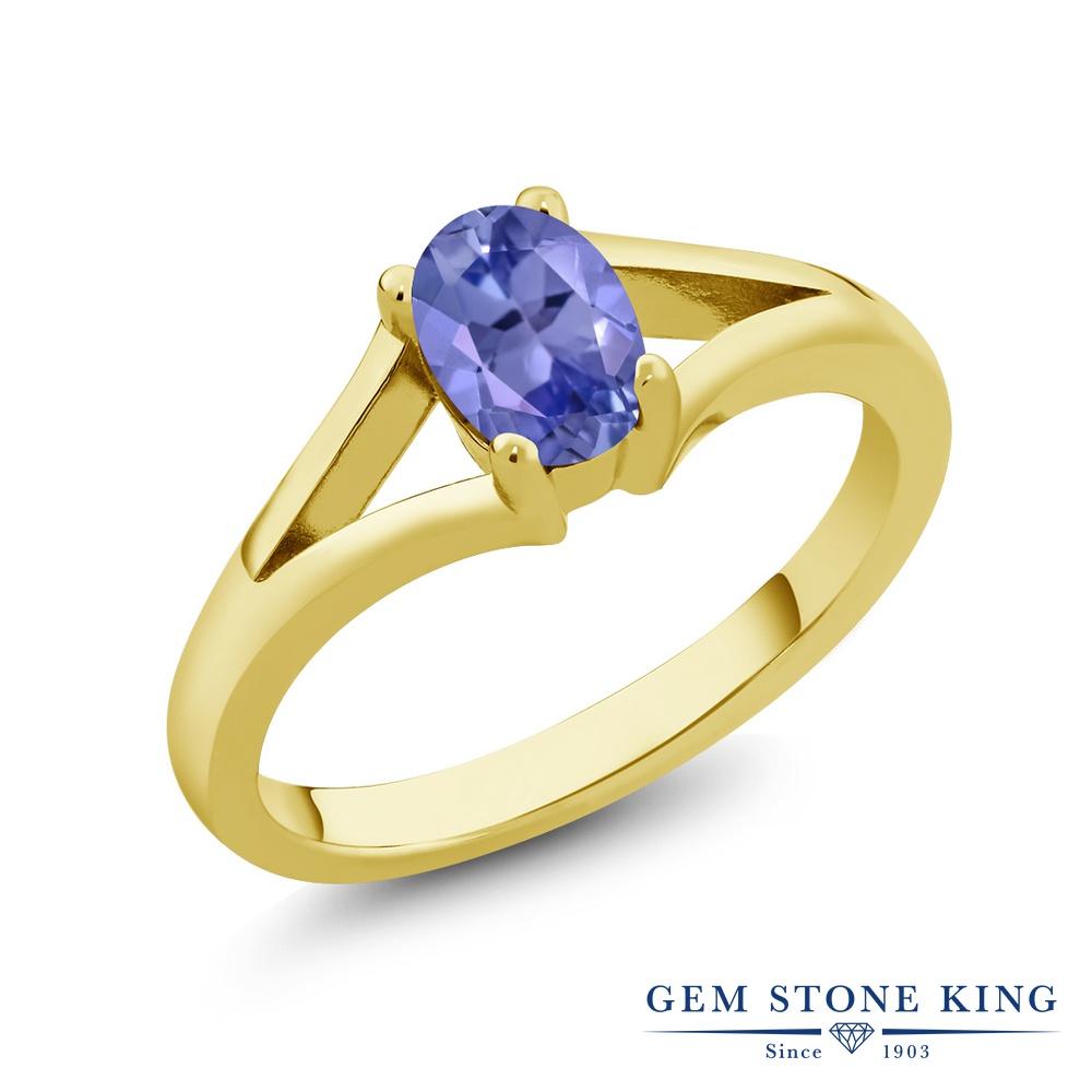 Gem Stone King 0.75カラット シルバー925 イエローゴールドコーティング 指輪 リング レディース 一粒 シンプル ソリティア 天然石 金属アレルギー対応 誕生日プレゼント
