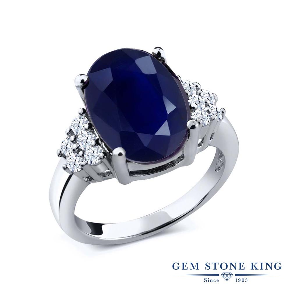 Gem Stone King 5.4カラット 天然 サファイア 合成ホワイトサファイア (ダイヤのような無色透明) シルバー925 指輪 リング レディース 大粒 マルチストーン 天然石 9月 誕生石 金属アレルギー対応 誕生日プレゼント