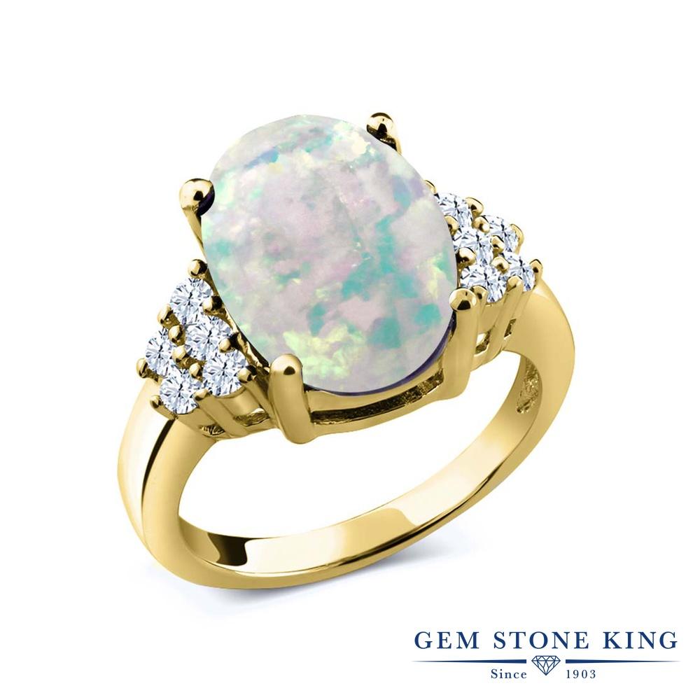 【10%OFF】 Gem Stone King 4.4カラット シミュレイテッド ホワイトオパール 合成ホワイトサファイア (ダイヤのような無色透明) 指輪 リング レディース シルバー925 イエローゴールド 加工 大粒 マルチストーン 10月 誕生石 クリスマスプレゼント 女性 彼女 妻 誕生日
