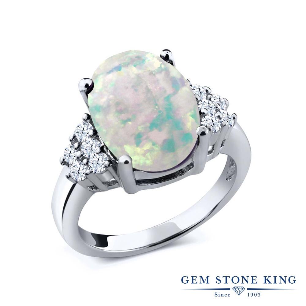 Gem Stone King 4.3カラット シミュレイテッド ホワイトオパール シルバー925 指輪 リング レディース 大粒 マルチストーン 10月 誕生石 金属アレルギー対応 誕生日プレゼント