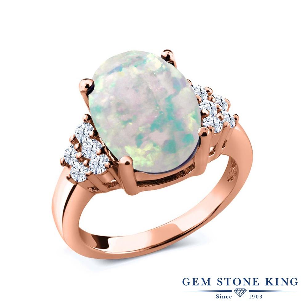 Gem Stone King 4.4カラット シミュレイテッド ホワイトオパール 天然 トパーズ (無色透明) シルバー925 ピンクゴールドコーティング 指輪 リング レディース 大粒 マルチストーン 10月 誕生石 金属アレルギー対応 誕生日プレゼント