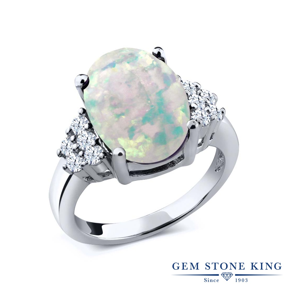 Gem Stone King 4.4カラット シミュレイテッド ホワイトオパール 天然 トパーズ (無色透明) シルバー925 指輪 リング レディース 大粒 マルチストーン 10月 誕生石 金属アレルギー対応 誕生日プレゼント