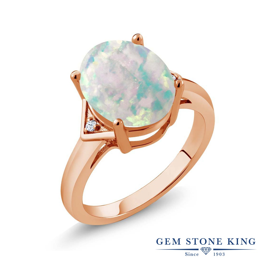 Gem Stone King 4.02カラット シミュレイテッド ホワイトオパール シルバー925 ピンクゴールドコーティング 指輪 リング レディース 大粒 シンプル ソリティア 10月 誕生石 金属アレルギー対応 誕生日プレゼント