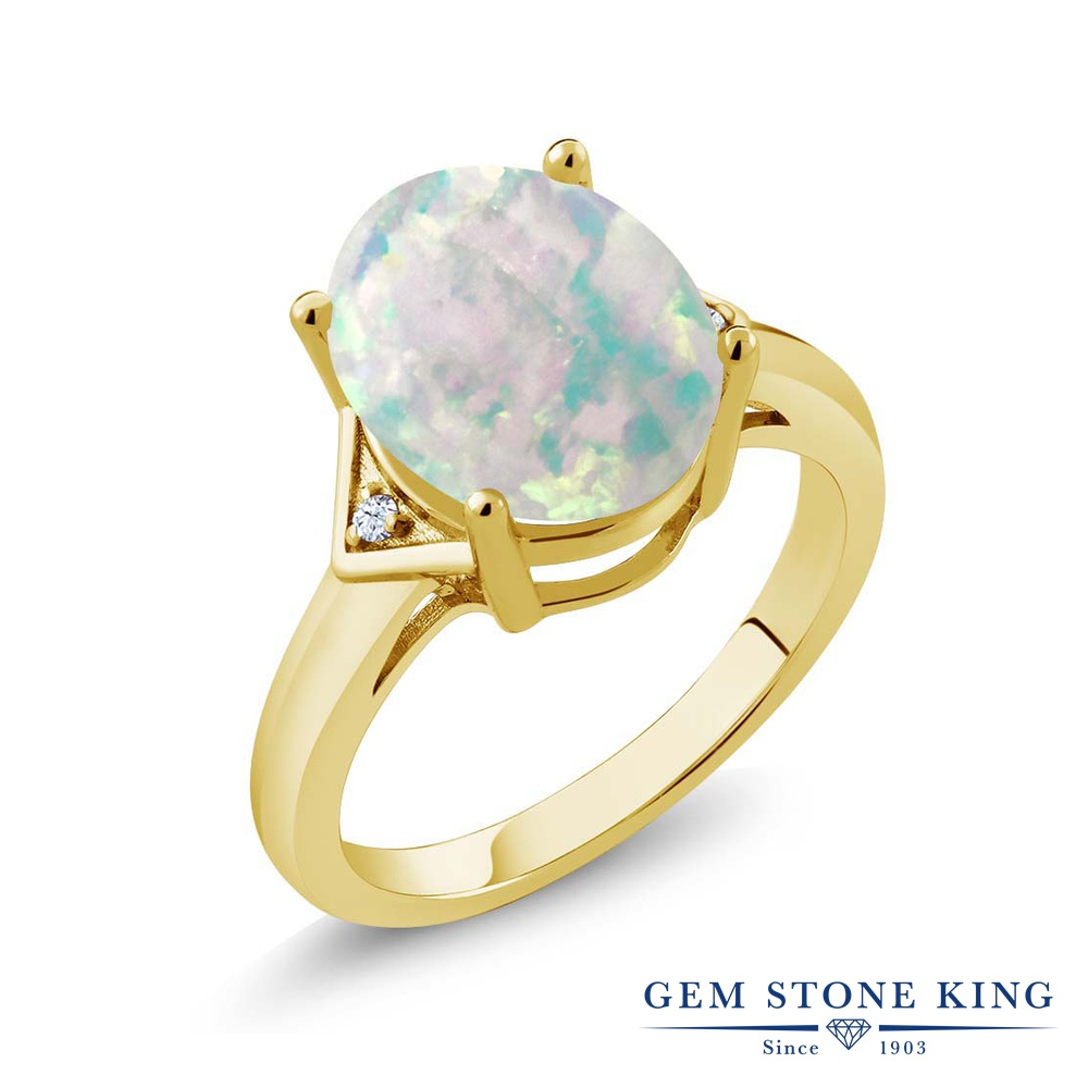 Gem Stone King 4.02カラット シミュレイテッド ホワイトオパール シルバー925 イエローゴールドコーティング 指輪 リング レディース 大粒 シンプル ソリティア 10月 誕生石 金属アレルギー対応 誕生日プレゼント