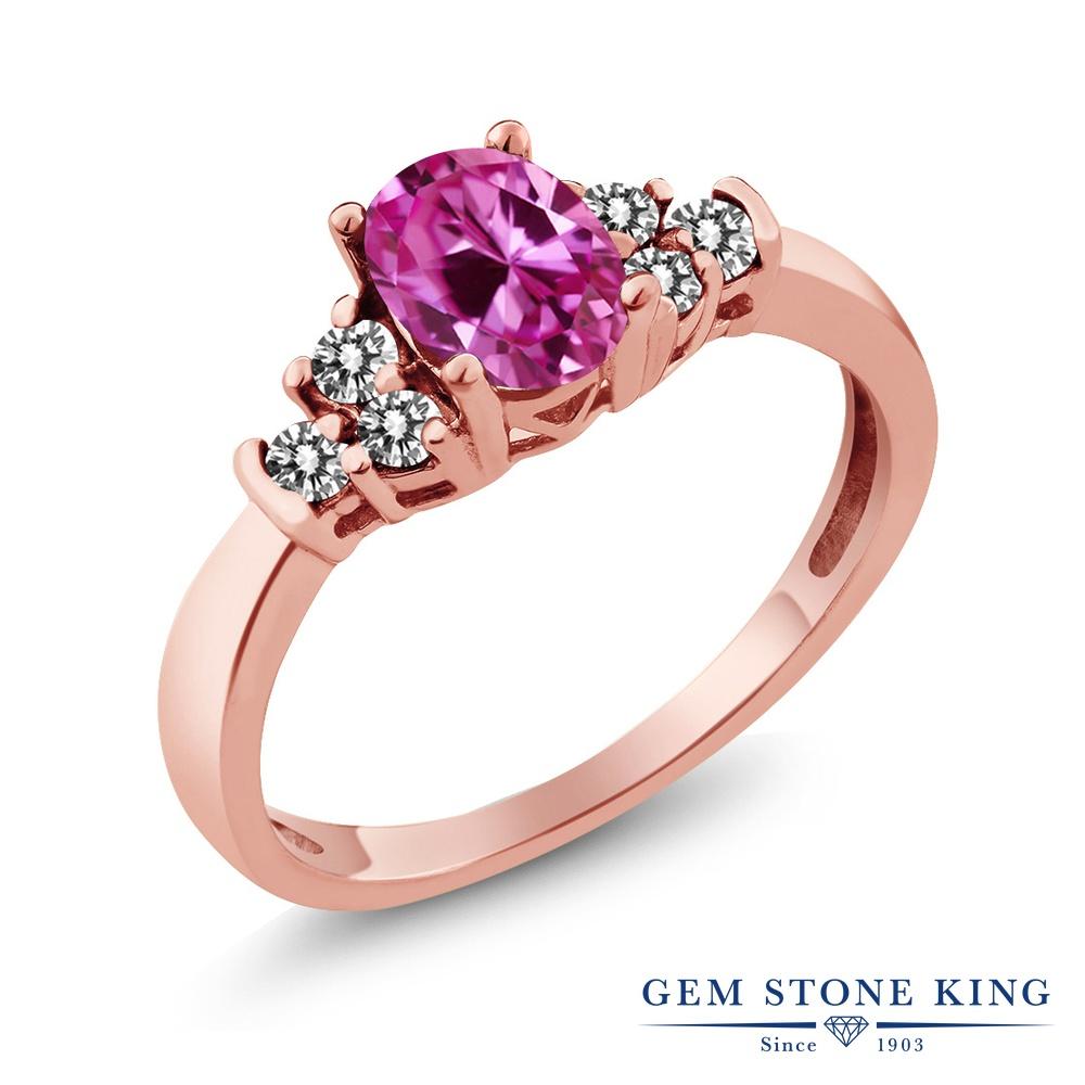 Gem Stone King 0.8カラット 合成ピンクサファイア 天然 ダイヤモンド シルバー925 ピンクゴールドコーティング 指輪 リング レディース マルチストーン 金属アレルギー対応 誕生日プレゼント
