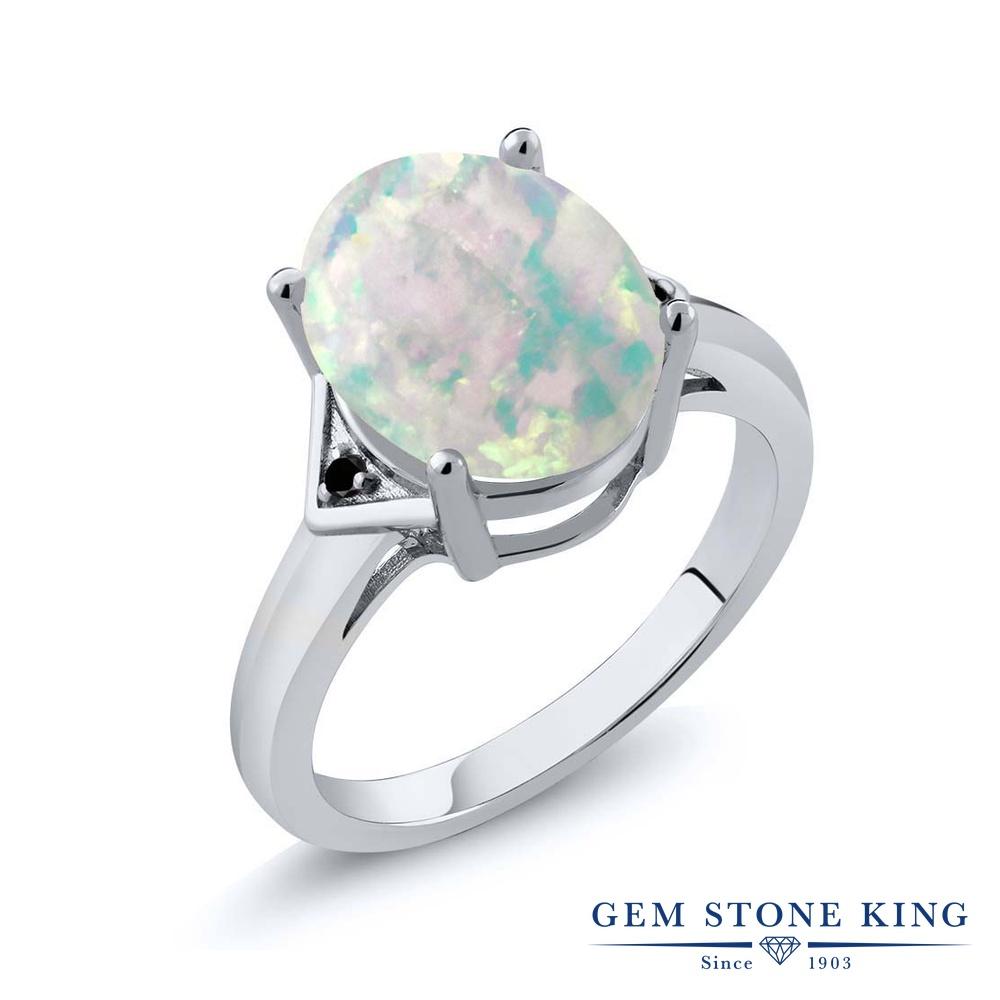 Gem Stone King 4.01カラット シミュレイテッド ホワイトオパール 天然ブラックダイヤモンド シルバー925 指輪 リング レディース 大粒 シンプル ソリティア 10月 誕生石 金属アレルギー対応 誕生日プレゼント