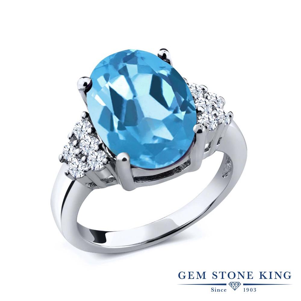 Gem Stone King 5.4カラット 天然 スイスブルートパーズ 天然 トパーズ (無色透明) シルバー925 指輪 リング レディース 大粒 マルチストーン 天然石 11月 誕生石 金属アレルギー対応 誕生日プレゼント