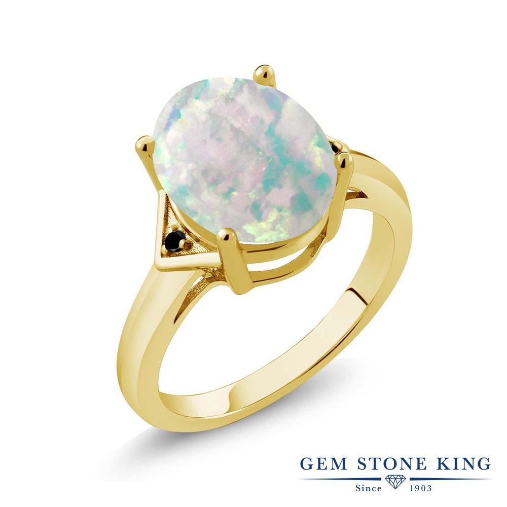 Gem Stone King 4.01カラット シミュレイテッド ホワイトオパール 天然ブラックダイヤモンド シルバー925 イエローゴールドコーティング 指輪 リング レディース 大粒 シンプル ソリティア 10月 誕生石 金属アレルギー対応 誕生日プレゼント