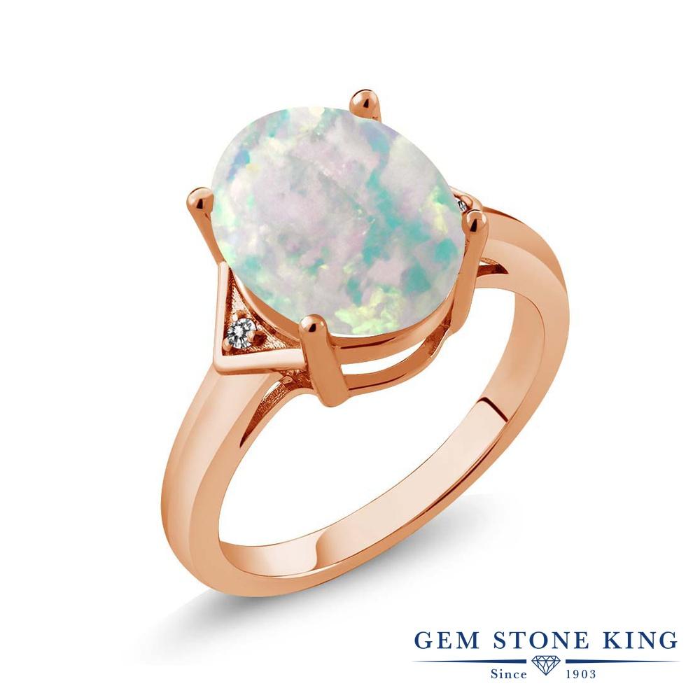 Gem Stone King 4.01カラット シミュレイテッド ホワイトオパール 天然 ダイヤモンド シルバー925 ピンクゴールドコーティング 指輪 リング レディース 大粒 シンプル ソリティア 10月 誕生石 金属アレルギー対応 誕生日プレゼント