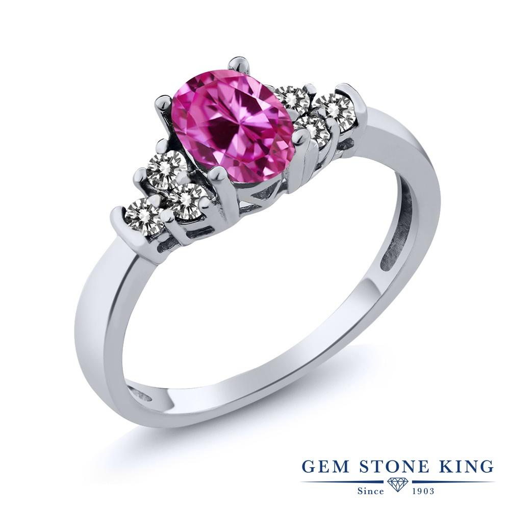 Gem Stone King 0.8カラット 合成ピンクサファイア 天然 ダイヤモンド シルバー925 指輪 リング レディース マルチストーン 金属アレルギー対応 誕生日プレゼント