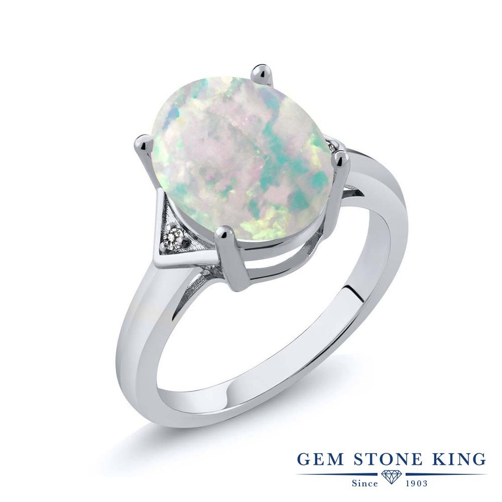 Gem Stone King 4.01カラット シミュレイテッド ホワイトオパール 天然 ダイヤモンド シルバー925 指輪 リング レディース 大粒 シンプル ソリティア 10月 誕生石 金属アレルギー対応 誕生日プレゼント