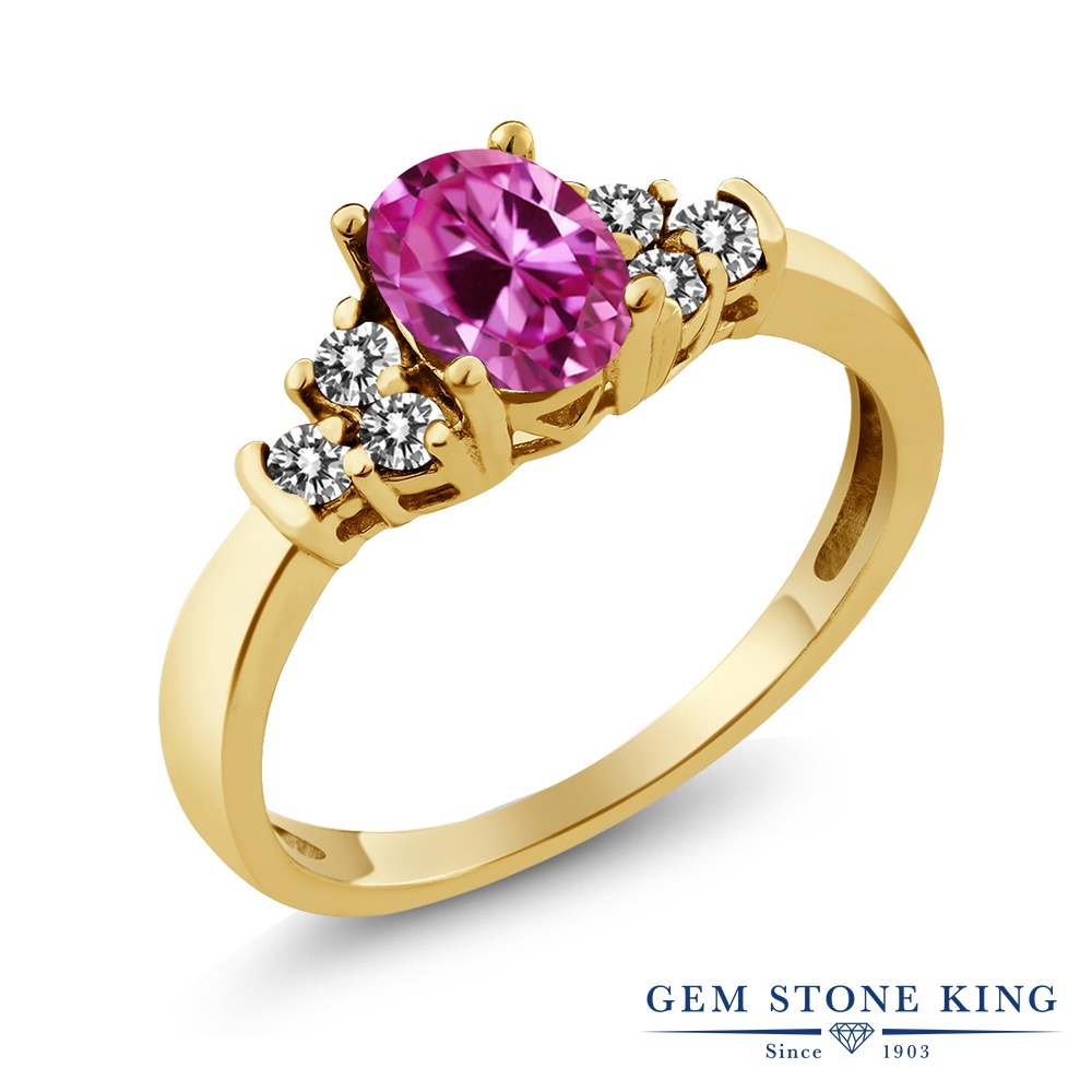 Gem Stone King 0.8カラット 合成ピンクサファイア 天然 ダイヤモンド シルバー925 イエローゴールドコーティング 指輪 リング レディース マルチストーン 金属アレルギー対応 誕生日プレゼント