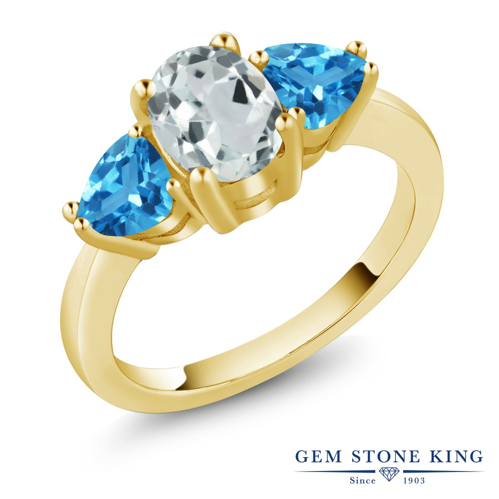 Gem Stone King 2.26カラット 天然 アクアマリン 天然 スイスブルートパーズ シルバー925 イエローゴールドコーティング 指輪 リング レディース 大粒 シンプル スリーストーン 天然石 3月 誕生石 金属アレルギー対応 誕生日プレゼント