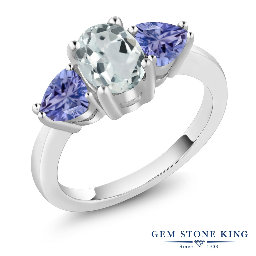 Gem Stone King 1.9カラット 天然 アクアマリン 天然石 タンザナイト シルバー925 指輪 リング レディース 大粒 シンプル スリーストーン 天然石 3月 誕生石 金属アレルギー対応 誕生日プレゼント