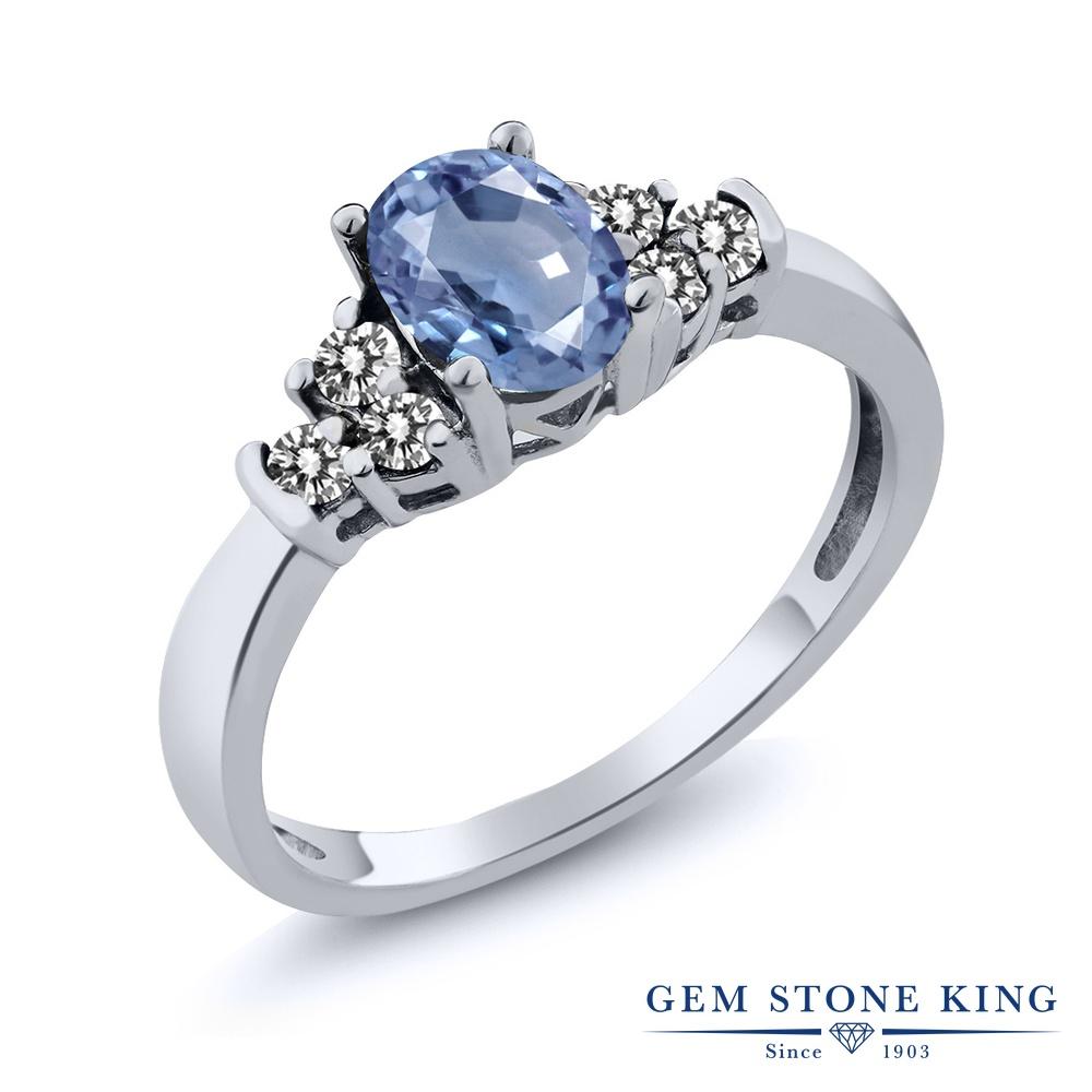 Gem Stone King 0.75カラット 天然 サファイア 天然 ダイヤモンド シルバー925 指輪 リング レディース マルチストーン 天然石 9月 誕生石 金属アレルギー対応 誕生日プレゼント
