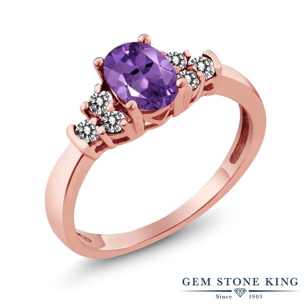 Gem Stone King 0.65カラット 天然 アメジスト 天然 ダイヤモンド シルバー925 ピンクゴールドコーティング 指輪 リング レディース 小粒 マルチストーン 天然石 2月 誕生石 金属アレルギー対応 誕生日プレゼント