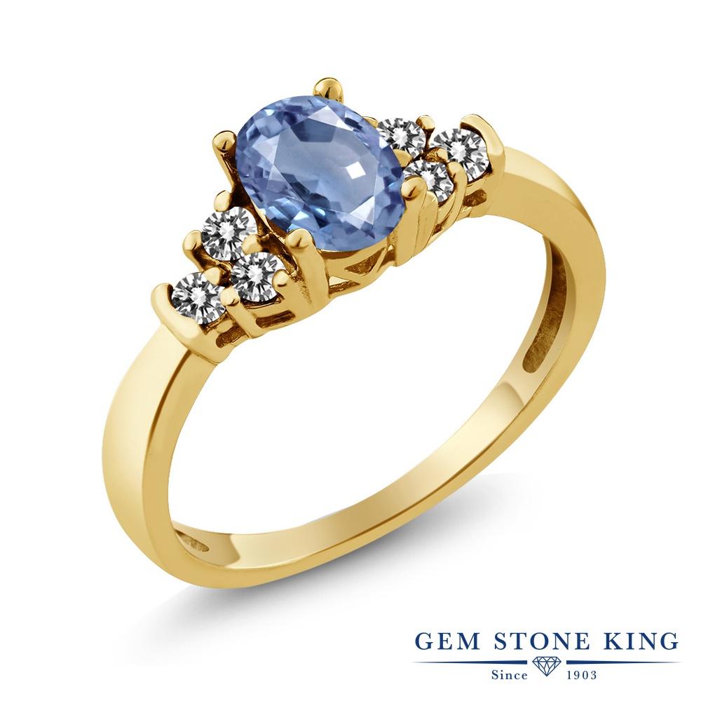 Gem Stone King 0.75カラット 天然 サファイア 天然 ダイヤモンド シルバー925 イエローゴールドコーティング 指輪 リング レディース マルチストーン 天然石 9月 誕生石 金属アレルギー対応 誕生日プレゼント