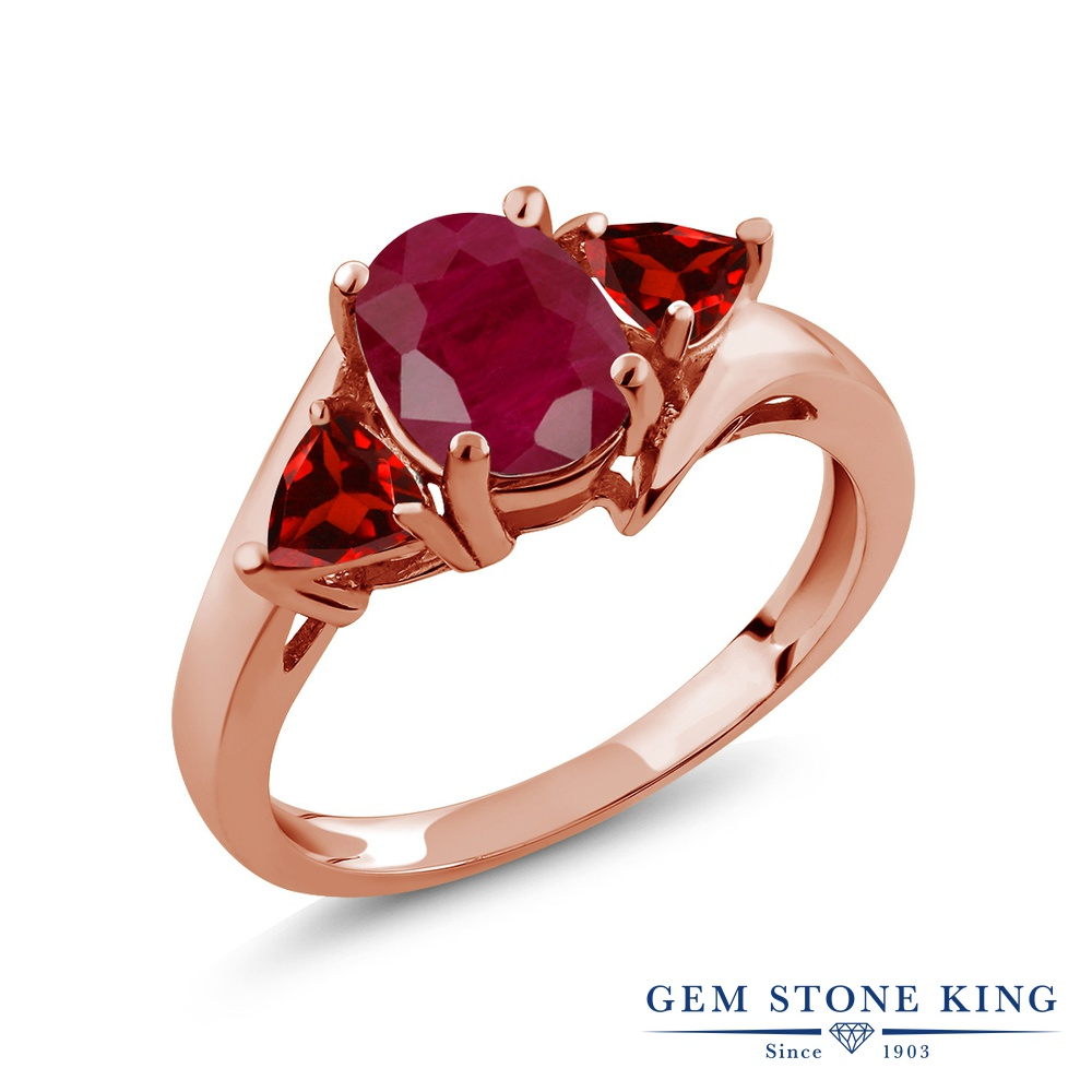 Gem Stone King 2.28カラット 天然 ルビー 天然 ガーネット シルバー925 ピンクゴールドコーティング 指輪 リング レディース 大粒 シンプル スリーストーン 天然石 7月 誕生石 金属アレルギー対応 誕生日プレゼント