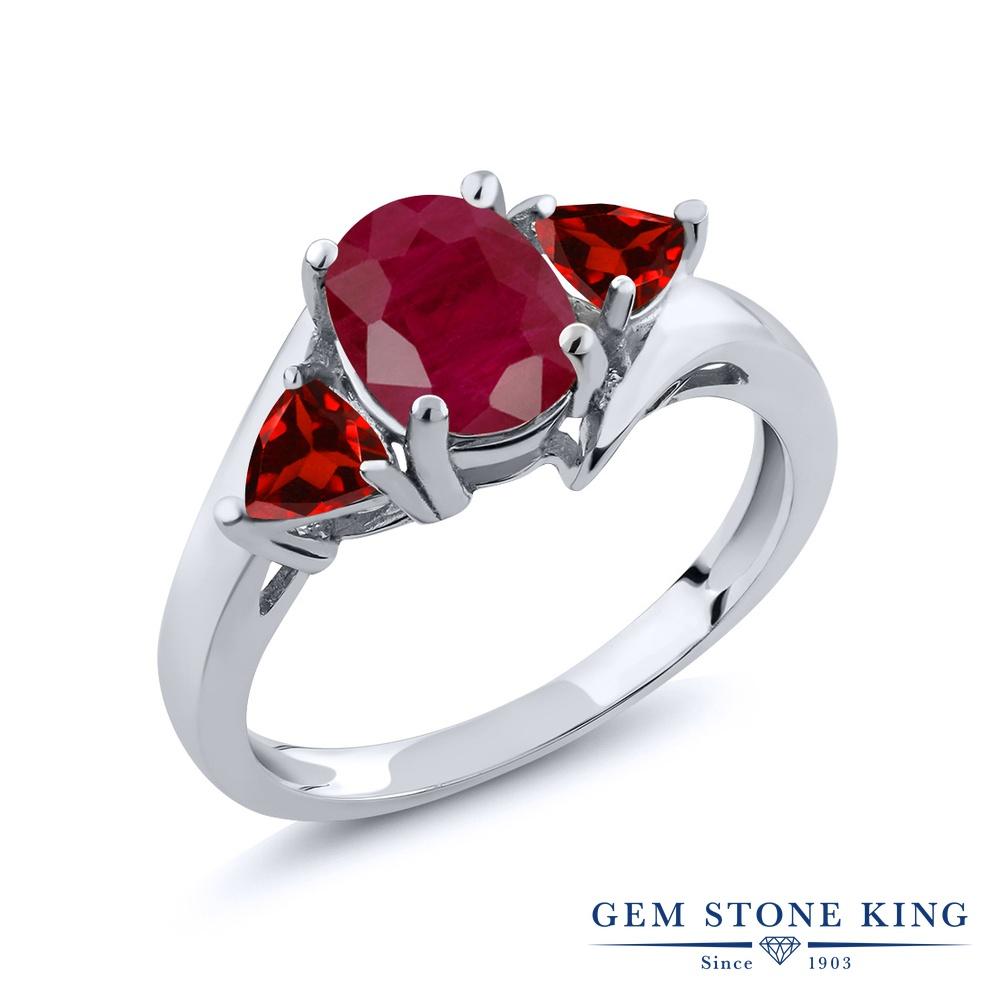 Gem Stone King 2.28カラット 天然 ルビー 天然 ガーネット シルバー925 指輪 リング レディース 大粒 シンプル スリーストーン 天然石 7月 誕生石 金属アレルギー対応 誕生日プレゼント