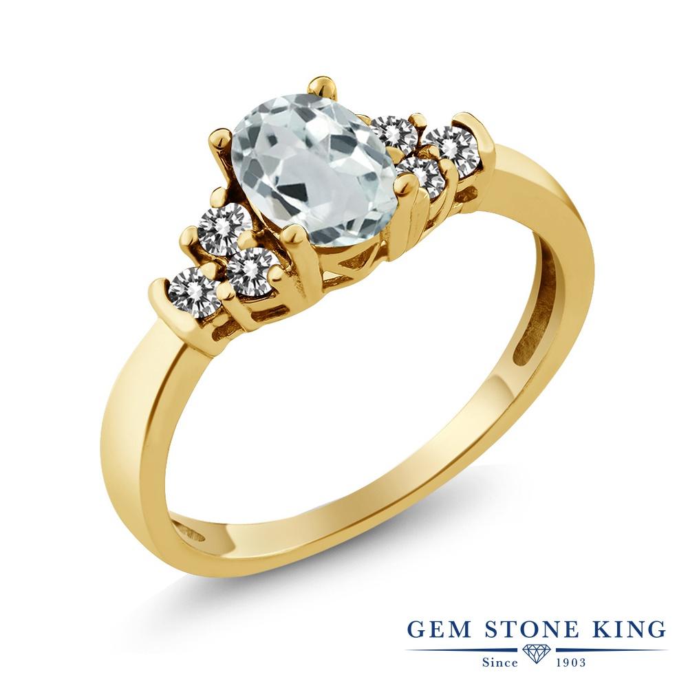 Gem Stone King 0.63カラット 天然 アクアマリン 天然 ダイヤモンド シルバー925 イエローゴールドコーティング 指輪 リング レディース 小粒 マルチストーン 天然石 3月 誕生石 金属アレルギー対応 誕生日プレゼント