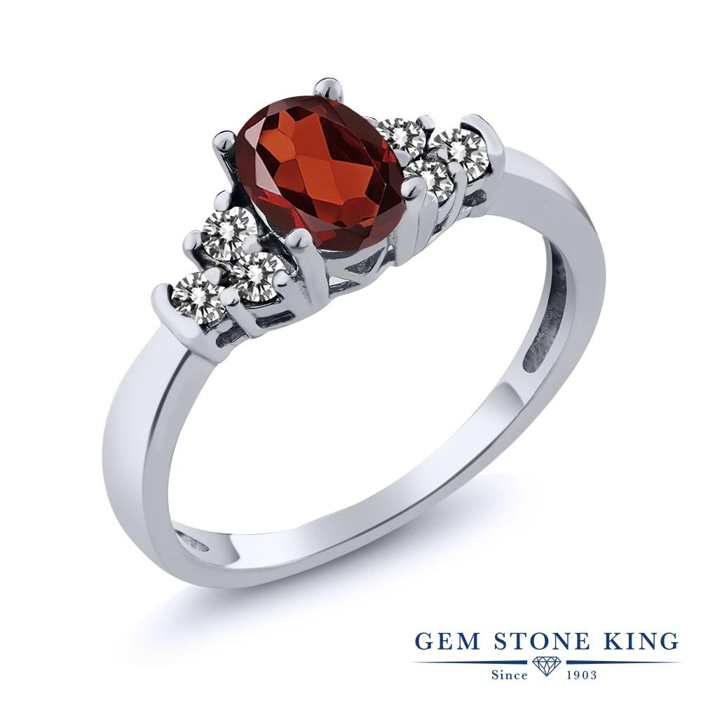 Gem Stone King 0.75カラット 天然 ガーネット 天然 ダイヤモンド シルバー925 指輪 リング レディース マルチストーン 天然石 1月 誕生石 金属アレルギー対応 誕生日プレゼント