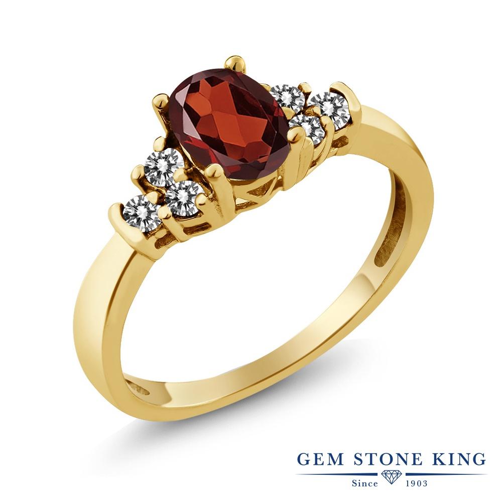 Gem Stone King 0.75カラット 天然 ガーネット 天然 ダイヤモンド シルバー925 イエローゴールドコーティング 指輪 リング レディース マルチストーン 天然石 1月 誕生石 金属アレルギー対応 誕生日プレゼント