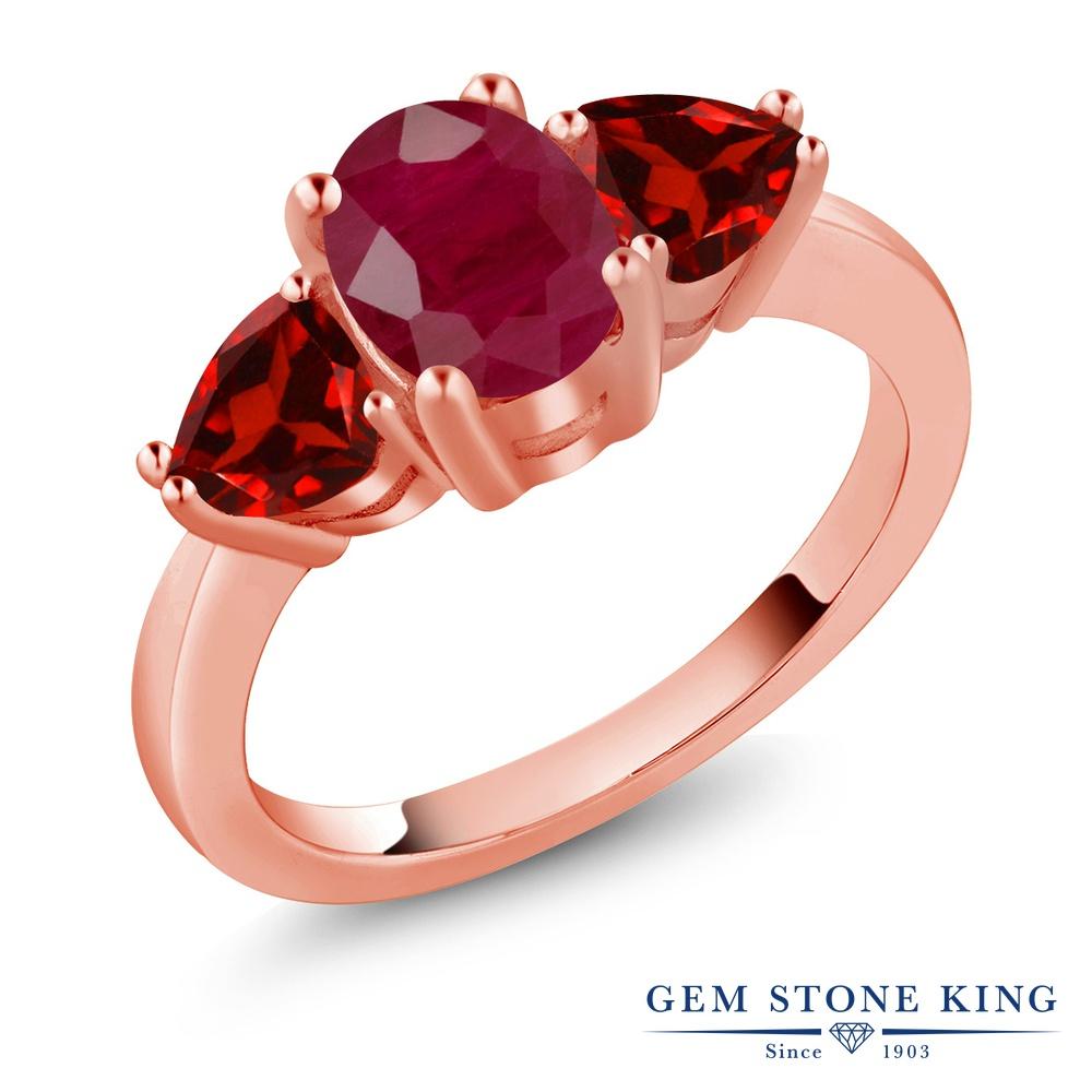 Gem Stone King 2.68カラット 天然 ルビー 天然 ガーネット シルバー925 ピンクゴールドコーティング 指輪 リング レディース 大粒 シンプル スリーストーン 天然石 7月 誕生石 金属アレルギー対応 誕生日プレゼント