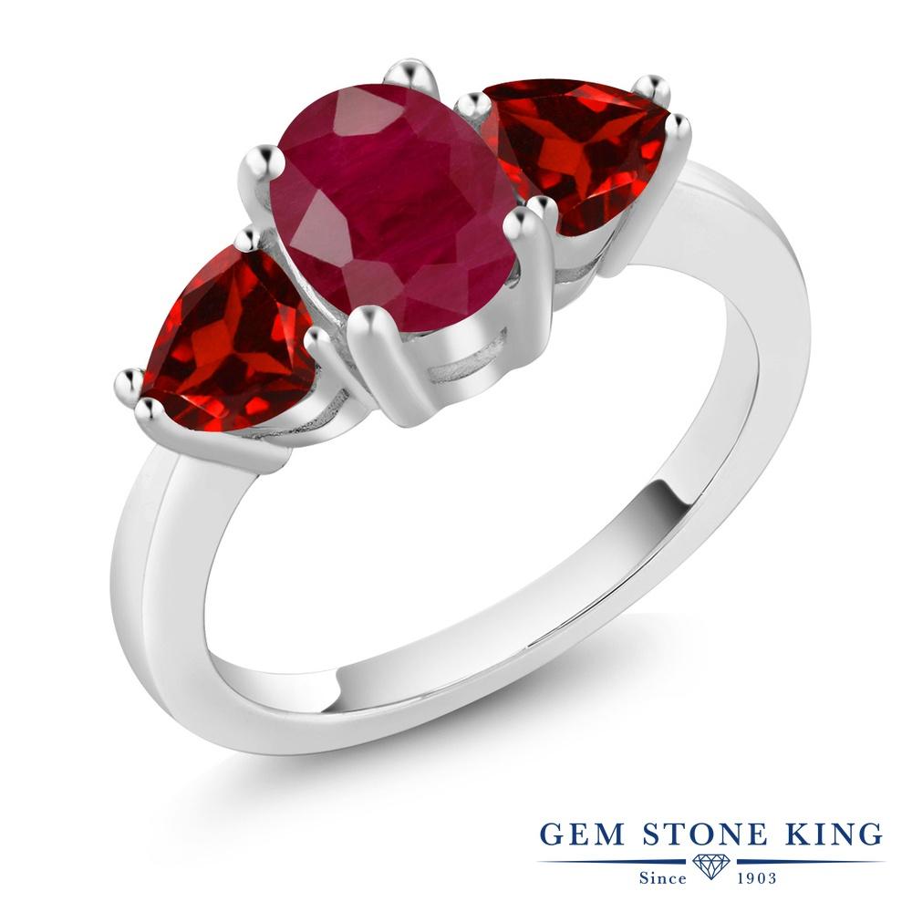 Gem Stone King 2.68カラット 天然 ルビー 天然 ガーネット シルバー925 指輪 リング レディース 大粒 シンプル スリーストーン 天然石 7月 誕生石 金属アレルギー対応 誕生日プレゼント