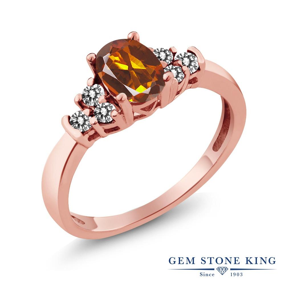 Gem Stone King 0.6カラット 天然 マデイラシトリン (オレンジレッド) 天然 ダイヤモンド シルバー925 ピンクゴールドコーティング 指輪 リング レディース 小粒 マルチストーン 天然石 金属アレルギー対応 誕生日プレゼント