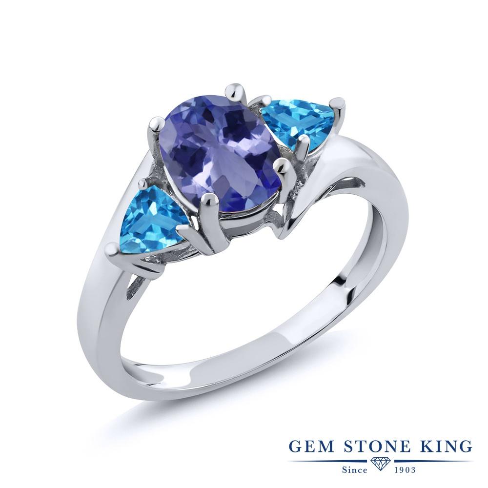 Gem Stone King 1.72カラット 天然石 タンザナイト 天然 スイスブルートパーズ シルバー925 指輪 リング レディース 大粒 シンプル スリーストーン 天然石 12月 誕生石 金属アレルギー対応 誕生日プレゼント