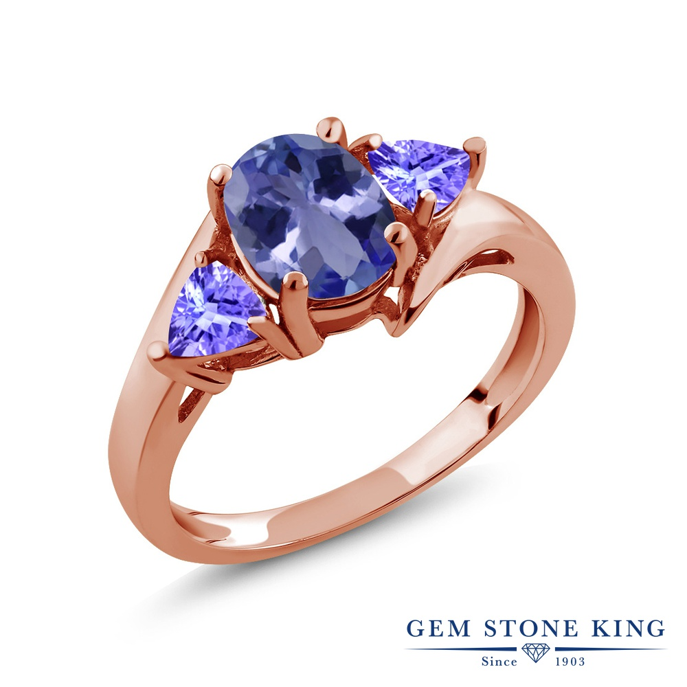【10%OFF】 Gem Stone King 1.58カラット 天然石 タンザナイト 指輪 リング レディース シルバー925 ピンクゴールド 加工 大粒 シンプル スリーストーン 12月 誕生石 クリスマスプレゼント 女性 彼女 妻 誕生日