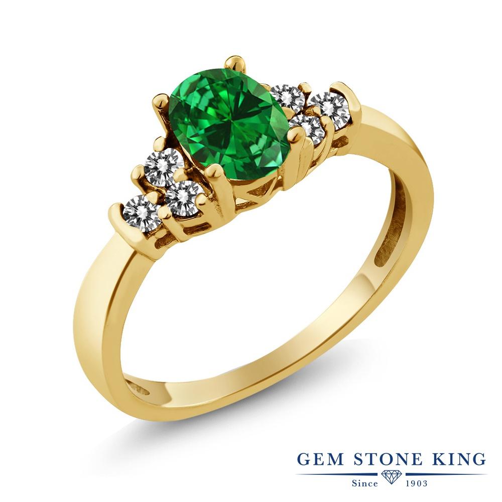 Gem Stone King 0.88カラット ナノエメラルド 天然 ダイヤモンド シルバー925 イエローゴールドコーティング 指輪 リング レディース マルチストーン 金属アレルギー対応 誕生日プレゼント
