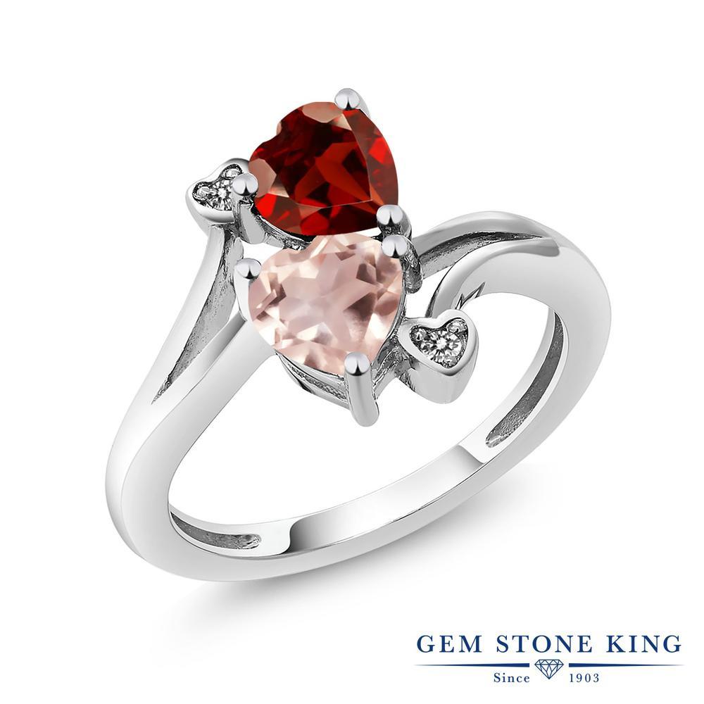 1.63カラット 天然 ガーネット ローズクォーツ ダイヤモンド 指輪 リング レディース シルバー925 ダブルストーン 天然石 1月 誕生石 金属アレルギー対応