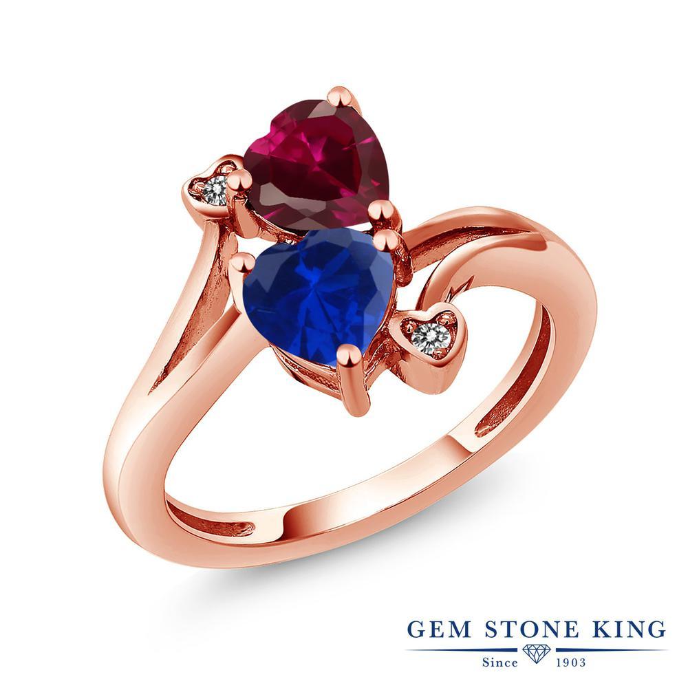 Gem Stone King 1.8カラット 合成ルビー シミュレイテッド サファイア 天然 ダイヤモンド 指輪 リング レディース シルバー925 ピンクゴールド 加工 ダブルストーン 金属アレルギー対応