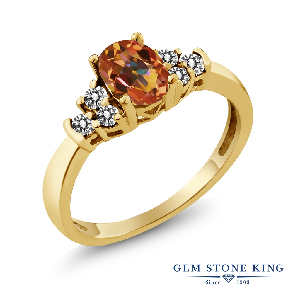 Gem Stone King 0.75カラット 天然石 エクスタシーミスティックトパーズ 天然 ダイヤモンド シルバー925 イエローゴールドコーティング 指輪 リング レディース マルチストーン 天然石 金属アレルギー対応 誕生日プレゼント