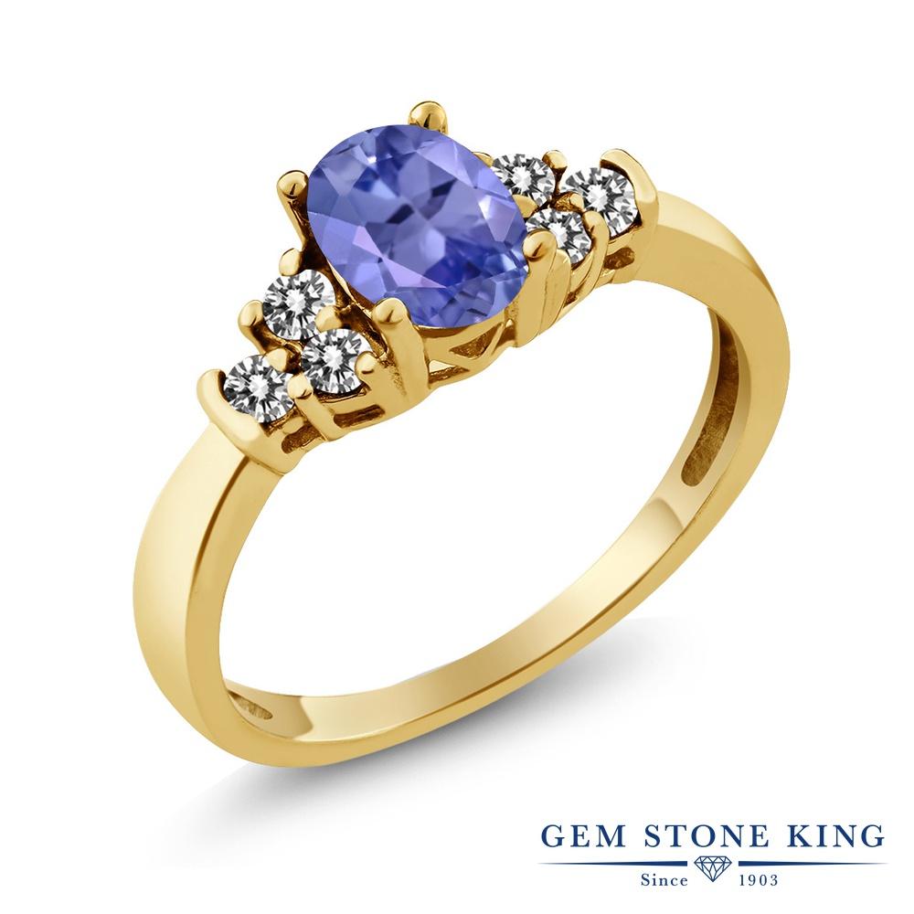 Gem Stone King 0.65カラット 天然石 タンザナイト 天然 ダイヤモンド シルバー925 イエローゴールドコーティング 指輪 リング レディース 小粒 マルチストーン 天然石 12月 誕生石 金属アレルギー対応 誕生日プレゼント