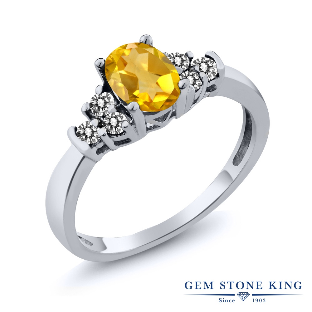Gem Stone King 0.6カラット 天然 シトリン 天然 ダイヤモンド シルバー925 指輪 リング レディース 小粒 マルチストーン 天然石 11月 誕生石 金属アレルギー対応 誕生日プレゼント