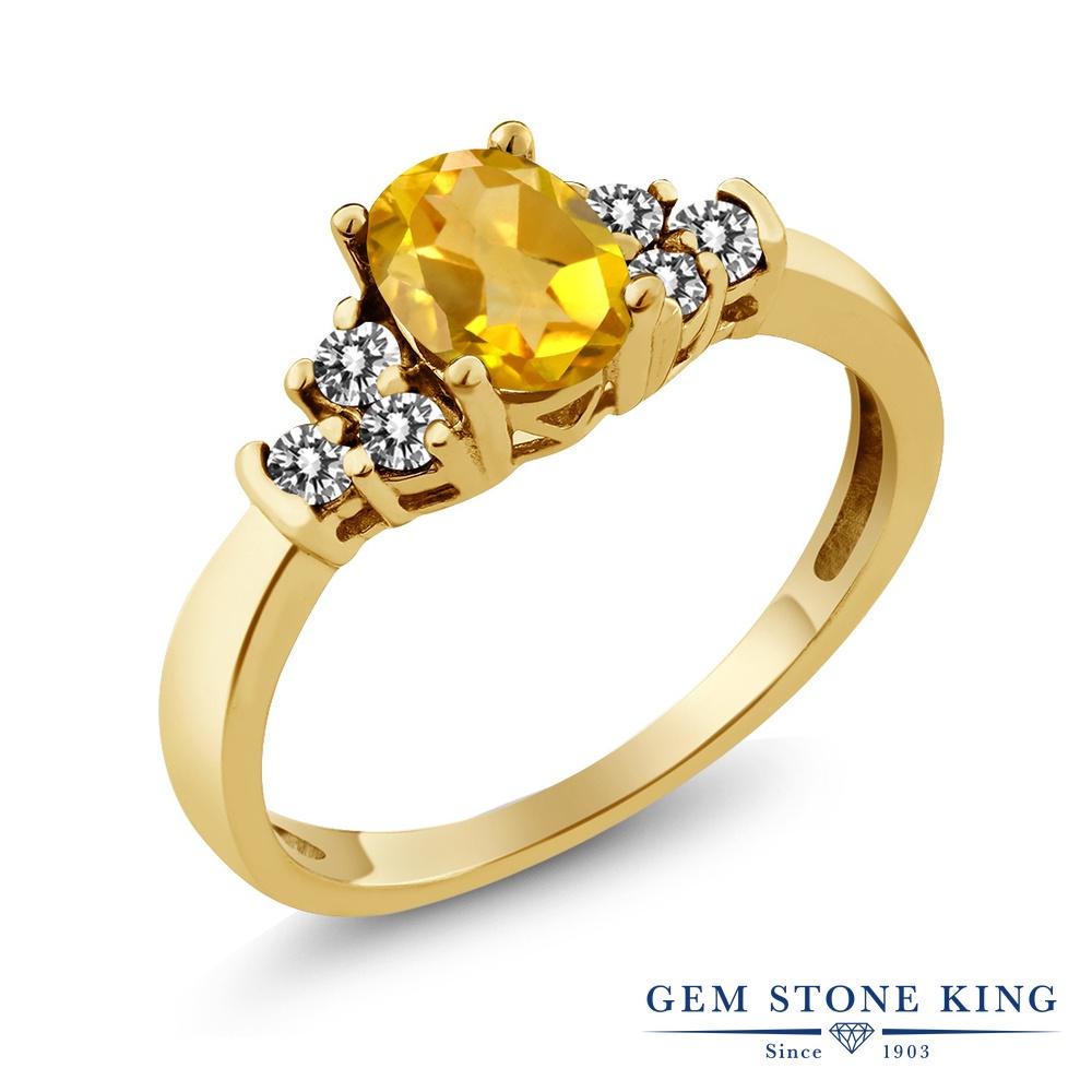 Gem Stone King 0.6カラット 天然 シトリン 天然 ダイヤモンド シルバー925 イエローゴールドコーティング 指輪 リング レディース 小粒 マルチストーン 天然石 11月 誕生石 金属アレルギー対応 誕生日プレゼント