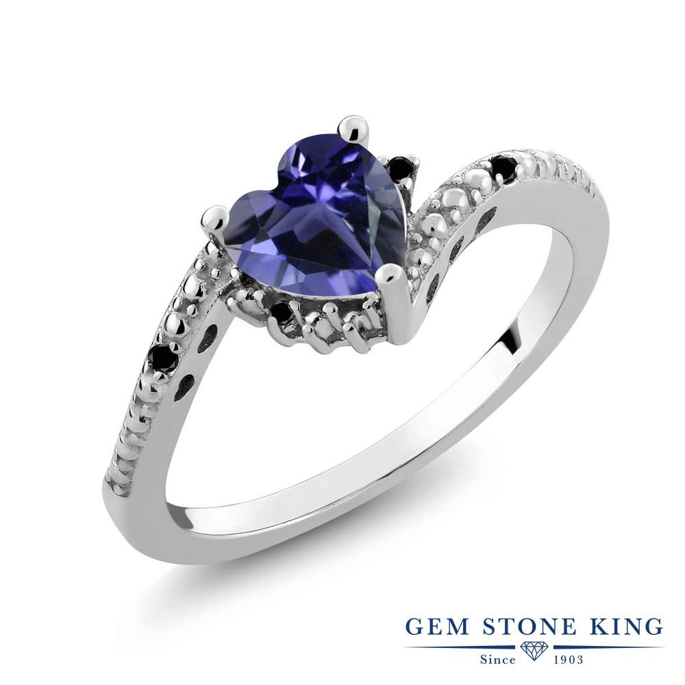 0.61カラット 天然 アイオライト (ブルー) ブラックダイヤモンド 指輪 リング レディース シルバー925 ソリティア 天然石 金属アレルギー対応