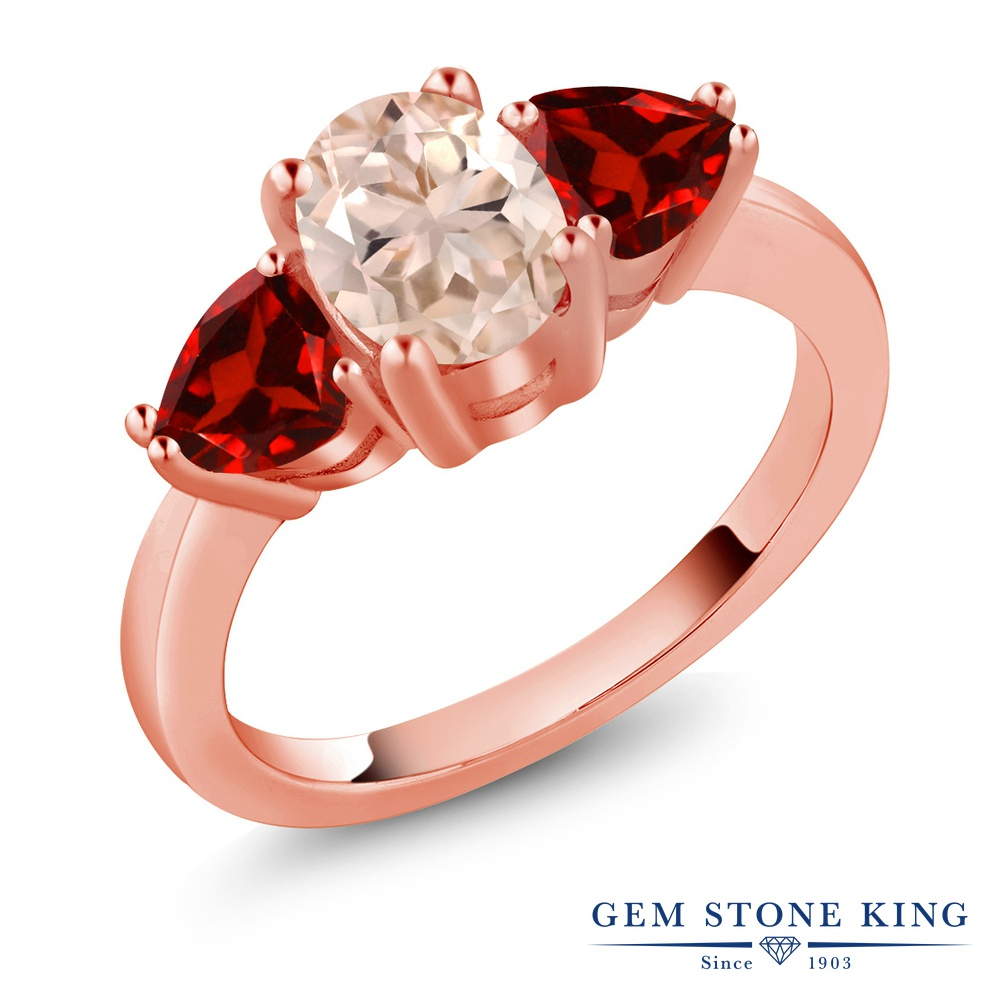 Gem Stone King 2.08カラット 天然 モルガナイト (ピーチ) 天然 ガーネット シルバー925 ピンクゴールドコーティング 指輪 リング レディース 大粒 スリーストーン シンプル 天然石 3月 誕生石 金属アレルギー対応 誕生日プレゼント