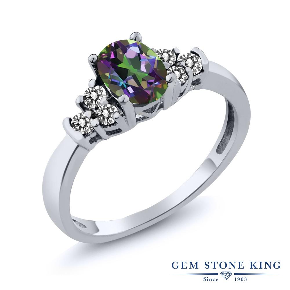 Gem Stone King 0.75カラット 天然石 ミスティックトパーズ (グリーン) 天然 ダイヤモンド シルバー925 指輪 リング レディース マルチストーン 天然石 金属アレルギー対応 誕生日プレゼント