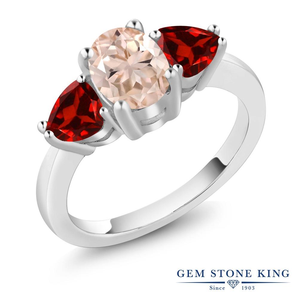 Gem Stone King 2.08カラット 天然 モルガナイト (ピーチ) 天然 ガーネット シルバー925 指輪 リング レディース 大粒 スリーストーン シンプル 天然石 3月 誕生石 金属アレルギー対応 誕生日プレゼント