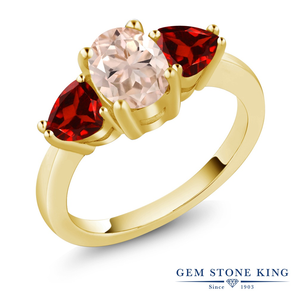 Gem Stone King 2.08カラット 天然 モルガナイト (ピーチ) 天然 ガーネット シルバー925 イエローゴールドコーティング 指輪 リング レディース 大粒 スリーストーン シンプル 天然石 3月 誕生石 金属アレルギー対応 誕生日プレゼント