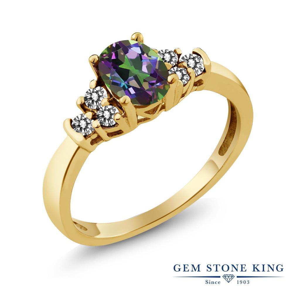 Gem Stone King 0.75カラット 天然石 ミスティックトパーズ (グリーン) 天然 ダイヤモンド シルバー925 イエローゴールドコーティング 指輪 リング レディース マルチストーン 天然石 金属アレルギー対応 誕生日プレゼント