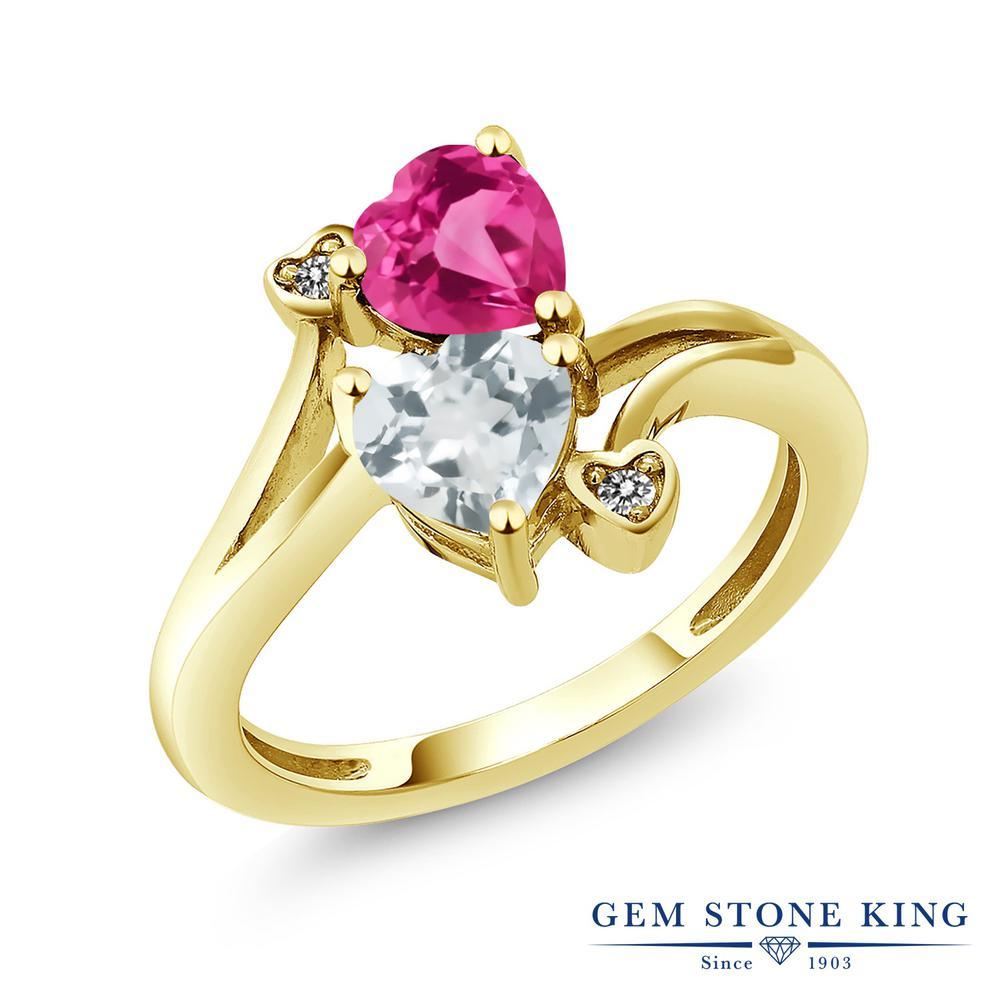 1.5カラット 合成ピンクサファイア 指輪 レディース リング 天然 アクアマリン ダイヤモンド イエローゴールド 加工 シルバー925 ブランド おしゃれ ハート かわいい ダブルストーン 金属アレルギー対応
