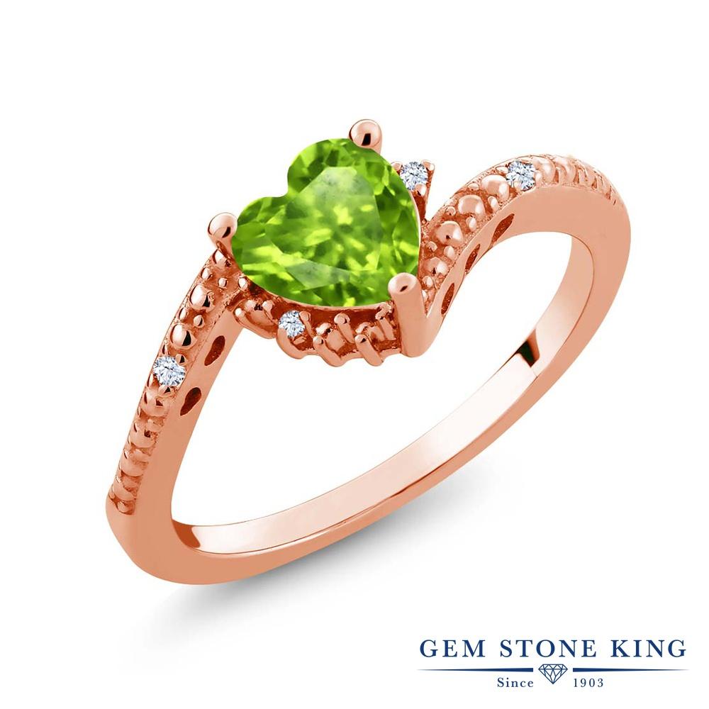 0.86カラット 天然石 ペリドット 合成ホワイトサファイア (ダイヤのような無色透明) 指輪 リング レディース シルバー925 ピンクゴールド 加工 ソリティア 8月 誕生石 金属アレルギー対応